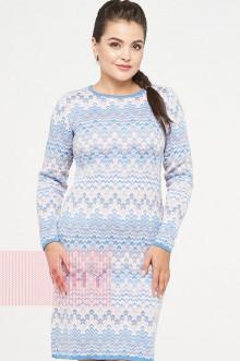 Платье женское 2317 Фемина (Темно-голубой/светлый персик/белый)
