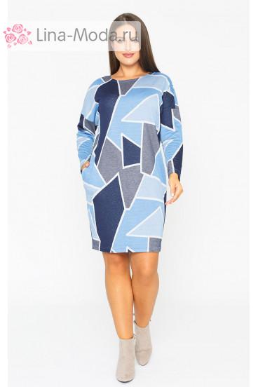 """Платье """"Лина"""" 52123 (Голубой графика)"""